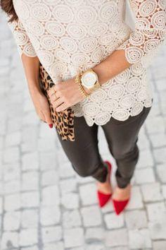 cream lace top, black skinny pants, red heels