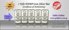 1kg PAMP Cast Silver Bar    https://www.goldprice.com.sg/146-1kg-pamp-cast-silver-bar-with-certificate-of-authenticity.html    Manufactured by one of the world's leading independent refineries, these 1kg bullion bars from PAMP are individually serial numbered and accompanied by a Certificate of Authenticity.    PAMP SA is certified by the London Bullion Market Association.    Gold Price Singapore Pte. Ltd.  http://www.goldprice.com.sg  Hotline: (65) 6591-8832  Email: sales@goldprice.com.sg
