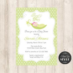 Pea In A Pod Baby Shower Invitation Polkadot by melanileestyle