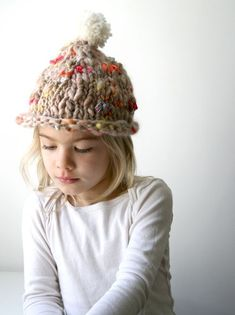 Whit's Knits: Fun Kid's Hat – The Purl Bee – Knitting Crochet Sewing Embroidery Crafts Patterns and Ideas! Easy Knit Hat, Knitted Hats Kids, Kids Hats, Baby Knitting Patterns, Knitting Yarn, Hat Patterns, Funky Hats, Purl Bee, Chunky Yarn