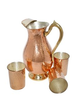Hammered Copper Jug with 6 Glass  | IKH101059S60201 | $49.99