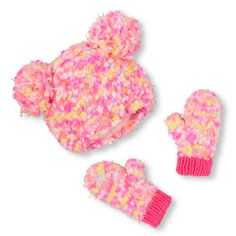 Toddler Girls Neon Popcorn-Knit Double Pom Pom Hat And Mittens Set