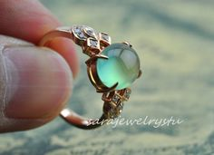 Precious~~~ Its handmade by saras studio with attentively design and carefully make .  This is a Prehnite ring setting, hand crafted in Platinum