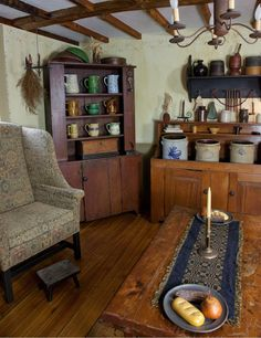 Words can't express how much I love that corner cabinet!  And the crocks.  And the Shaker boxes.