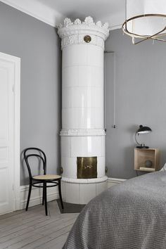 traditional tile stove in Swedish apartment