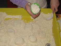 Cloud Dough!! This airy yet mold able dough is simple to make. A great sensory exploration for you little one(s). 8 cups flour, 1 cup baby oil. You can even use scented oil for a scented dough!