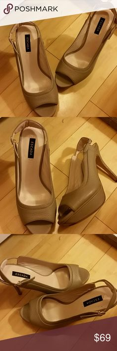 "Escada Beige Heels Great for a date night, perfectly perfect Escada heels measuring 5"" in heels. In EUC.  Made in Italy Escada Shoes Heels"