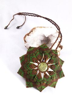 Green Serpentine Macramé Mandala Necklace