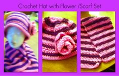 I'm selling Crochet Hat with Flower and Scarf Set - $25.00 #onselz