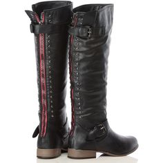 CiCiHot Black Faux Leather Studded Knee High Rider Boots ($24) ❤ liked on Polyvore featuring shoes, boots, black boots, back zipper boots, studded boots, knee length boots and faux-leather boots