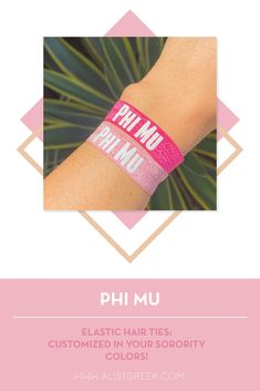 Sorority hair ties are the easiest gift for any celebration: Recruitment, Bid Day, Back to School & Big/Little. Spoil your new sorority girl with a hair tie set! Phi Mu Gifts   Phi Mu Bid Day   Phi Mu Hair Ties   Phi Mu New Pledge Gift   Sorority Bid Day   Sorority Recruitment   Sorority Hair Tie Gifts   Sorority College Gift   Sorority New Member Gift Ideas #SororityGifts #SororityHairTies Sorority Bid Day, College Sorority, Sorority Recruitment, Sorority Gifts, Bid Day Themes, Hair Tie Bracelet, Greek Design, College Gifts, Phi Mu