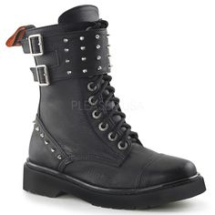 Demonia RIVAL-309 Black Vegan Leather Combat Boots