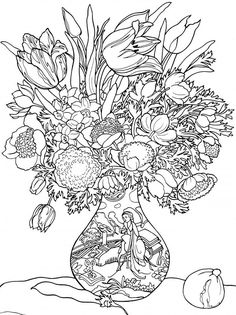 Floral vase colouring page