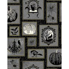 Spellbound fabric - Halloween Patch by First Blush Studio for Henry Glass 9906 Black / Metallic - Remnant 21 Inch Halloween Quilt Patterns, Halloween Quilts, Halloween Sewing, Spooky Halloween, Halloween Runner, Victorian Chair, Gold Highlights, Cool Costumes, Picture Show