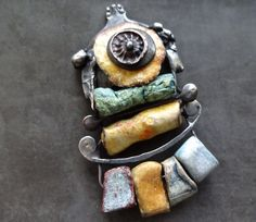 Small brooch GreyBirdStudio porcelain by DiPiazzaMetalworks
