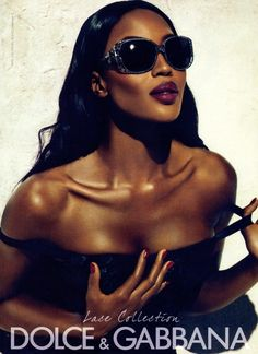 Naomi Campbell for Dolce & Gabbana Lace Collection Eyewear S/S 2011. Photography by Mert Alas & Marcus Piggott