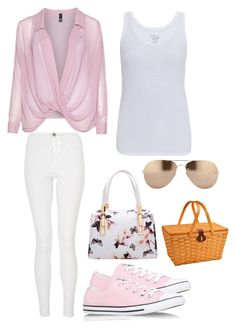 """""""Picnic"""" by stylistlilleepete ❤ liked on Polyvore featuring Manon Baptiste, Majestic, Quiz, Converse, Linda Farrow and Picnic at Ascot"""