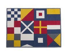 Flags Tea Towel in Lava. Hand silk-screened. Design by thomaspaul.