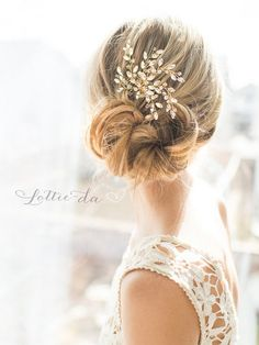 Long Wedding Updo Hairstyle with Boho Gold Flower Leaf Hair Vine Wedding Headpiece / http://www.deerpearlflowers.com/wedding-hairstyles-and-bridal-wedding-accessories/2/
