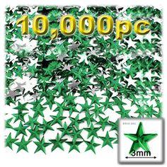 10000-pc Acrylic foil Flatback Star shape Rhinestones 3mm Emerald Green