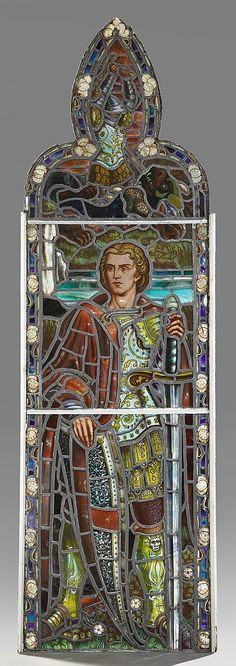 English Reverse Painted Leaded Stained Glass Panel, 19th c., depicting St. George, within a border of lily pads, in a wooden frame,...