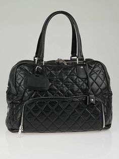 a3ce5dd2cc7 Chanel Black Quilted Distressed Lambskin Leather Medium Luggage Tote Bag (Paris  New York PNY)