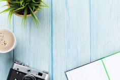 Picture of Office desk table with notepad, camera, coffee and flower. Top view with copy space stock photo, images and stock photography. Table Desk, Office Desk, Stock Photos, Creative, Flowers, Projects, Pictures, Inspiration, Image