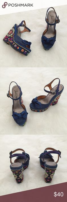 Sam Edelman Rylee Wedge Sandals Sam Edelman Rylee Wedge Sandals Size: 8 Condition: Used  Classy and perfect summer wedges!  Feature adjustable ankle straps, heel height is approximately 4 1/2 inches, embroidered flowers, from denim bows and denim fabric. They are in good condition and were originally purchased at Nordstrom.These are perfect to pair with summer dress, skirts or skinny jeans Grab these while you can☀️  In Bin: F3 **All items from my closet come from a SMOKE FREE home** Sam…