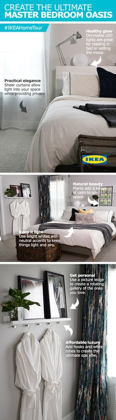 Get inspiration from the IKEA Home Tour Squad's latest bedroom makeover with tips and tricks for creating a master bedroom oasis. The Squad suggests using dimmable LED lights, sheer curtains and bright whites for a calming and natural look!