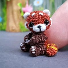 This tiny Red Panda is hand-crocheted from embroidery threadwith thin hook. Bear will arrive to you packed in a gift-bag. Bear is about 2,5 cm tall = 1 inch. You can move his head, arms and legs. Each order is carefully packed with Eco friendly materials. So you may recently gift it, or just enjoy it yourself! Please feel free to contact me if you have any questions or special requests.