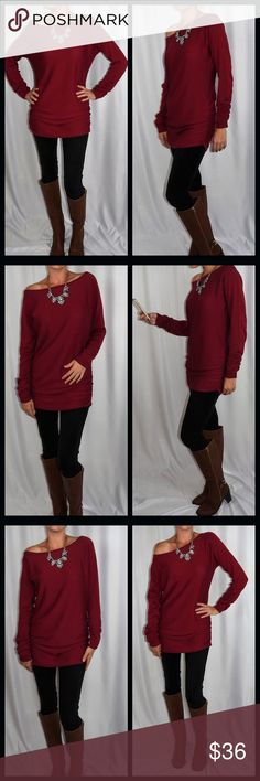 Long off the shoulder sweater 🆕ONLY 1‼️ Gorgeous off the shoulder sweater.  ⭐️Bunched up on both sides ⭐️Bunched up on sleeves ⭐️Nice long length ⭐️56% Cotton-44% Rayon ⭐️Gorgeous Deep Red  ⭐️Please ask all questions before purchasing  ⭐️Measurements given upon request  ⚡️Price Firm Unless Bundled 🚫Trades/ 🅿️🅿️ or Mercari Sweaters