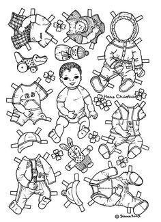 Karen`s Paper Dolls: Hans Christian 1-2 Paper Doll to Colour. Påklædningsdukke Hans Christian 1-2 til at farvelægge.