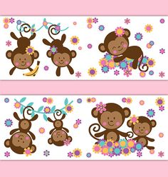 MONKEY WALLPAPER BORDER Decals Girl Safari Animal Nursery Wall Art Stickers Decor Childrens Hanging Swinging Vine Jungle Bedroom Kids Room #decampstudios