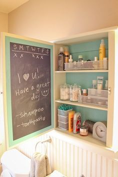 Medicine cabinet chalkboard: Painted the inside of the old cabinet with Spray Paint blackboard paint. Works nicely. Great for leaving reminders, good-morning greetings, etc.
