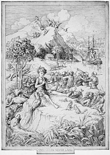 Illustration by F. D. Bedford from the first edition-Peter Pan by J. M. Barrie is published.  1904