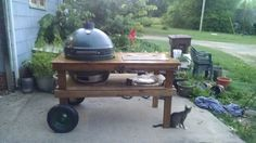 Big Green Egg table, built from plans found on Pinterest.