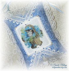 Cat Decor Hanging Pillow Blue Victorian Embellished by Kittyandme, $24.95