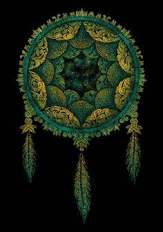 ☮ American Hippie Psychedelic Art Mandala ~ Dream Catcher