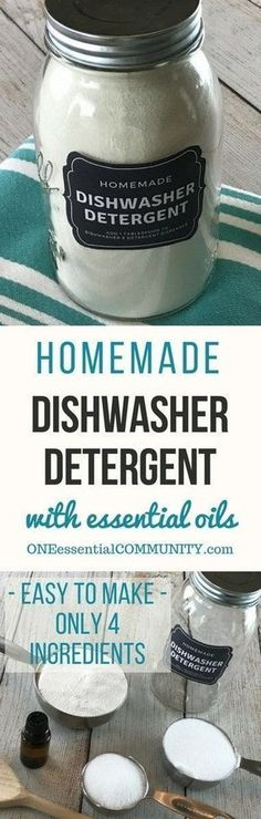 Natural Dishwasher Detergent Easy-to-make natural dishwasher detergent recipe-- for clean, sparkling dishes without using harsh, toxic chemicals. {made with essential oils} DIY essential oil recipe for dishwasher detergent.Easy-to-make natural dishwas. Homemade Dishwasher Detergent, Dishwasher Soap, Washing Detergent, Dish Detergent, Diy Dishwasher Cleaner, Diy Laundry Detergent, Washing Soda, Clean Dishwasher, Homemade Cleaning Supplies