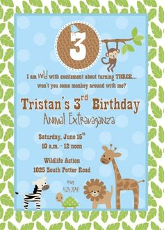 Birthday pool party invitation multiple races personalized and zoo wildlife jungle animals themed boy birthday party invitation file stopboris Images