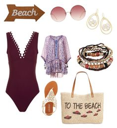 """""""to the beach"""" by mcounce on Polyvore featuring Karla Colletto, Olivia Miller, Linda Farrow, Style & Co., Mud Pie, Poupette St Barth and Ippolita"""