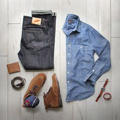 "Phil Cohen on Instagram: ""My second skin.  Shirt: @grayers Selvedge Chambray Denim: @rogueterritory Slub SK Shoes: Alden Snuff Suede Indy @jcrew Belt: @jcrew Wallet:…"""