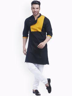 Shop Zotw Men Black & Yellow Colourblocked A-Line Kurta from Shoprapy ! Kurta Pajama Men, Kurta Men, Mens Sherwani, Nigerian Men Fashion, Indian Men Fashion, Mens Fashion Wear, Indian Wedding Clothes For Men, Sherwani For Men Wedding, Gents Kurta Design