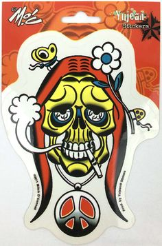 Mitch O'Connell Stoned Hippie Skull Decal Sticker