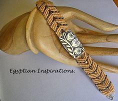 Micro macrame bracelet Peach owl bracelet by EgyptianInspirations