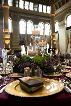 Purple and green wedding centerpieces at the Grain Exchange -- Evenement Planning
