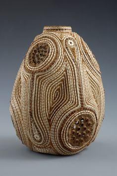 """Noovo"" lotus blossom tops, cedar bark ostrich shell & waxed linen by Jan Hopkins - via janhopkinsart.blogspot.ch"