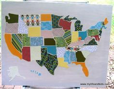 This awesome map of the United States is made from scrapbook paper. See it at My Life and Kids: Tutorial: USA Map out of Scrapbook Paper. Auction Projects, Craft Projects, Craft Ideas, Sewing Projects, Auction Ideas, Art Auction, Sewing Crafts, Living Room Canvas, Georgia