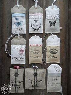 """Lavendelbeutelchen in Form von """"Tags"""" Lavender Crafts, Lavender Bags, Lavender Sachets, Fabric Crafts, Sewing Crafts, Sewing Projects, Mini Bebidas, Scented Sachets, Handmade Tags"""