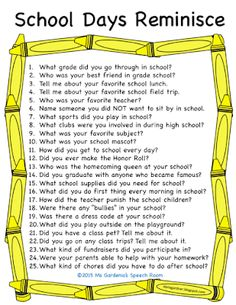 Free Printable: School Days Reminiscing questions for the elderly. Reminiscing activities are perfect for small groups of seniors in nursing homes. Activities For Dementia Patients, Alzheimers Activities, Elderly Activities, Work Activities, Therapy Activities, Spring Activities, Activity Ideas, Elderly Games, Dementia Care